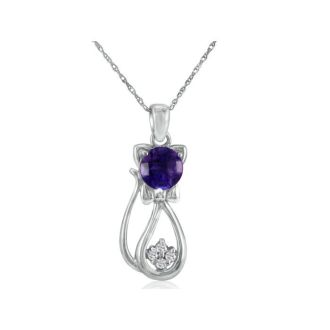 Amethyst  and Diamond Cat Pendant in 10k White Gold
