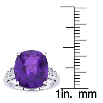 14k White Gold Cushion Cut 4ct Amethyst and Diamond Ring