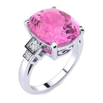 14k White Gold Cushion Cut 4ct Pink Topaz and Diamond Ring