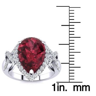 3ct Garnet and Diamond Ring With X Shank Accents, 14k White Gold