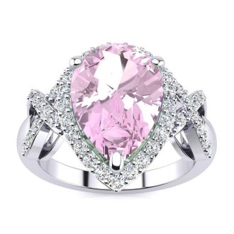 3ct Pink Topaz and Diamond Ring With X Shank Accents, 14k White Gold