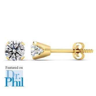1/2 Carat Diamond Stud Earrings In 14 Karat Yellow Gold Featured on Dr. Phil