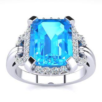 Interlocking 3.25ct Blue Topaz and Diamond Ring in 14k White Gold