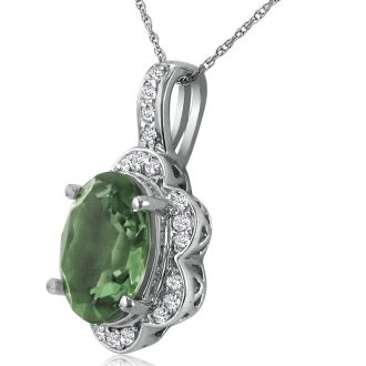 Large 4ct Oval Green Amethyst and Diamond Pendant in 14k White Gold