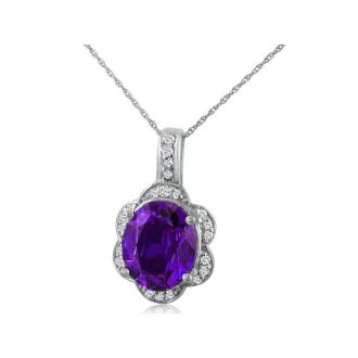 Large 4ct Oval Amethyst and Diamond Pendant Set in 14k White Gold