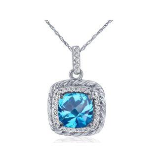 Rope Design Blue Topaz and Diamond Pendant in 14k White Gold