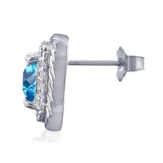 Rope Design Blue Topaz and Diamond Earrings in 14k White Gold