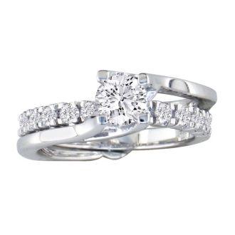 Interlocking Spiraling 7/8ct Diamond Bridal Set in 14k White Gold