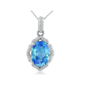 Enormous Blue Topaz and Diamond Pendant in 14k White Gold