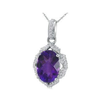 Enormous Amethyst and Diamond Pendant in 14k White Gold