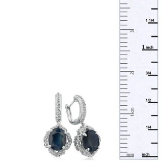 6 1/3ct Dangle Sapphire and Diamond Hoop Earrings in 14k White Gold