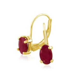1 1/4 Carat Oval Shape Ruby Leverback Earrings in 14 Karat Yellow Gold
