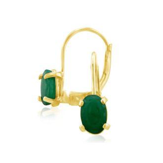1 1/4 Carat Oval Shape Emerald Leverback Earrings in 14 Karat Yellow Gold