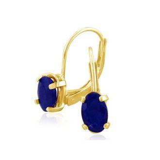 1 1/4 Carat Oval Shape Sapphire Leverback Earrings in 14 Karat Yellow Gold