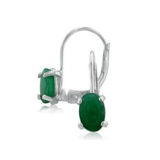 1 1/4 Carat Oval Shape Emerald Leverback Earrings in 14 Karat White Gold