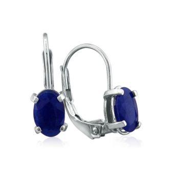 1 1/4 Carat Oval Shape Sapphire Leverback Earrings in 14 Karat White Gold