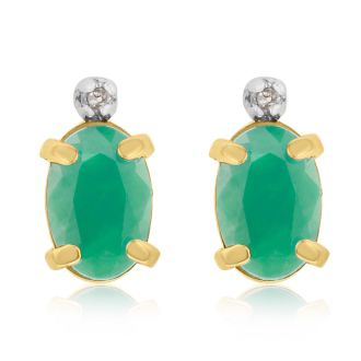 1ct Oval Emerald and Diamond Earrings in 14k Yellow Gold