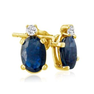 2ct Oval Sapphire and Diamond Earrings in 14k Yellow Gold