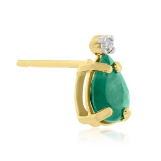 1ct Pear Emerald and Diamond Earrings in 14k Yellow Gold