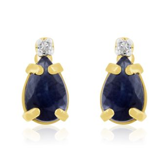 1 1/4ct Pear Sapphire and Diamond Earrings in 14k Yellow Gold