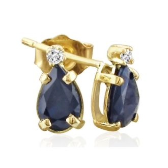 2ct Pear Sapphire and Diamond Earrings in 14k Yellow Gold