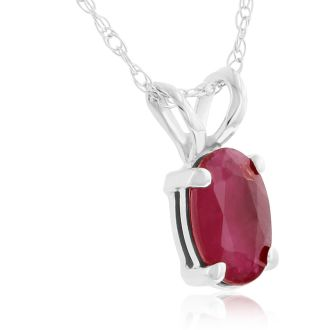 .60ct Oval Ruby Pendant in 14k White Gold