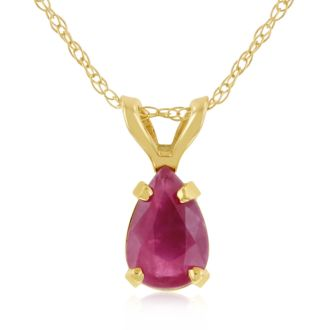 .60ct Pear Shaped Ruby Pendant in 14k Yellow Gold