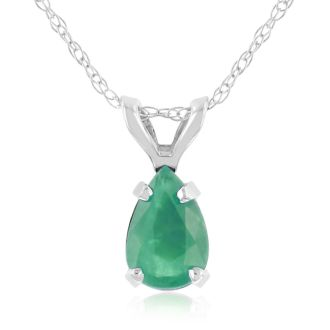 1/2ct Pear Shaped Emerald Pendant in 14k White Gold