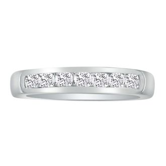 1/3ct Platinum Diamond Wedding Band, Channel Set
