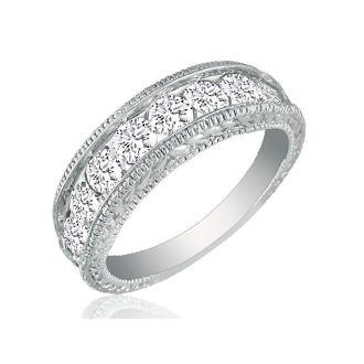 1/4ct Platinum Diamond Wedding Band, Antique Model, Channel Set