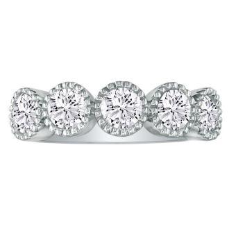 5 Diamond Milgrain Bezel 1/2ct Platinum Diamond Wedding Band