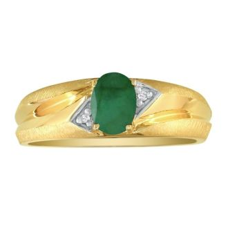 Dual Texture 10k Yellow Gold .86ct Oval Emerald and Diamond Mens Ring