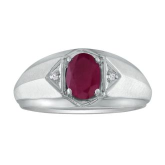 Dual Texture 10k White Gold 1.07ct Oval Ruby and Diamond Mens Ring