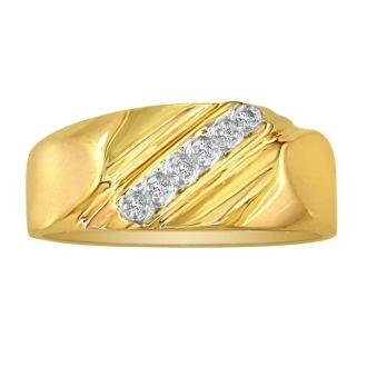 Classic Diagonal .03ct Mens Diamond Band in 10k Yellow Gold