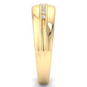 Modern Channel Set Men's Diamond Band in 10k Yellow Gold