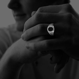 Oval Onyx and Diamond Mens Ring 10K White Gold