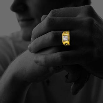 1/5ct 9-Diamond Stylish Mens Ring in 10k Yellow Gold