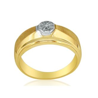 Fancy Set Half-Brushed Mens Diamond Band in 10k Yellow Gold
