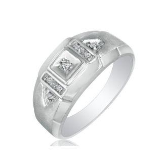 Brushed White Diamond Mens Ring in 10k White Gold