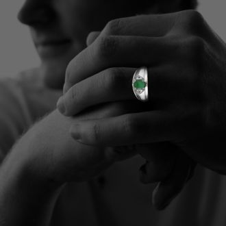 Mens Emerald and White Diamond Ring in 10k White Gold