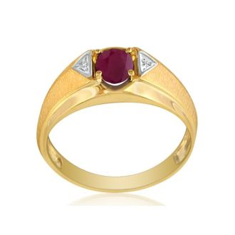 Mens Ruby and White Diamond Ring in 10k Yellow Gold