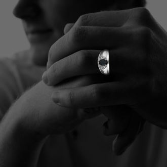 Mens Sapphire and White Diamond Ring in 10k White Gold