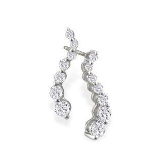 Radiant 1/2ct Journey Diamond Earrings in 14k White Gold