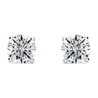 1 1/2 Carat Round Diamond Stud Earrings In 14 Karat White Gold