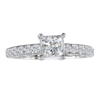 1 1/4 Carat Princess Cut Diamond Engagement Ring In 14k White Gold