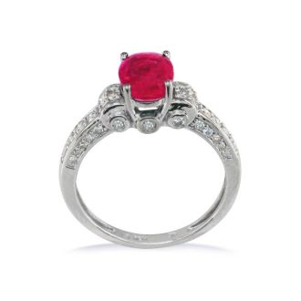 White Gold 1 6/7ct Oval Ruby and Diamond Ring in 14k White Gold