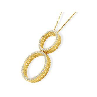 1/3ct Double Circle Diamond Pendant in 14k Yellow Gold