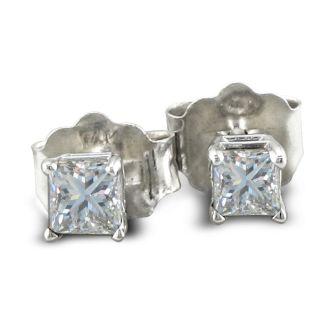 1/3ct Princess Diamond Stud Earrings In 14k White Gold