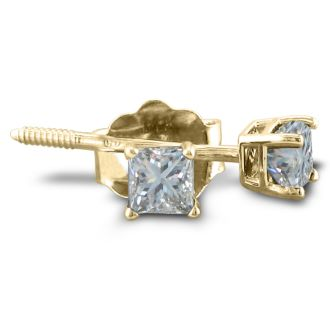 1/3ct Princess Diamond Stud Earrings In 14k Yellow Gold