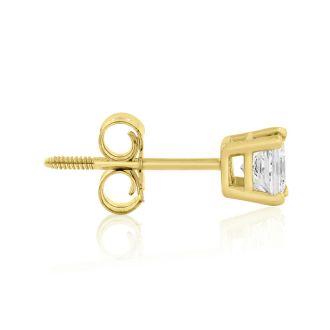 1/2ct Princess Diamond Stud Earrings In 14k Yellow Gold